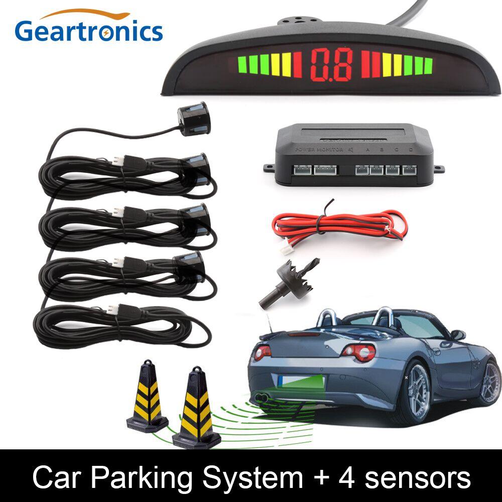 sensor estacionamento Auto parktronic Sensor de aparcamiento LED con 4 Sensores revertir aparcamiento del coche radar Monitores detector sistema retroiluminación