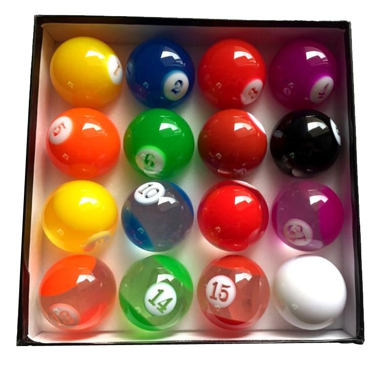 xmlivet Complete Set Transparent Colorful Billiards balls 57 25mm International Standard Pool game balls Resin for