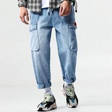 Idopy новые мужские эластичные джинсы модные повседневные Хип Хоп свободное джинсовое платье Лоскутная упаковка брюк шаровары джоггеры из денима