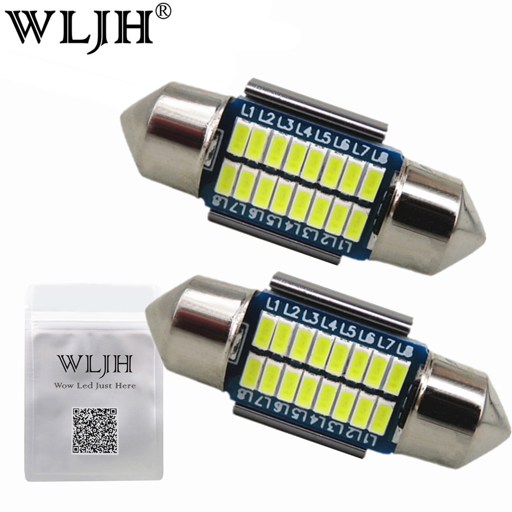 WLJH 2x Canbus Led Festoon 31mm 36mm 39mm 42mm SV8,5 C10W C5W Led 3014 SMD 12V Lamp Lighting Car Dome Bulb License Plate Lights 2pcs festoon led 36mm 39mm 41mm canbus auto led lamp 12v festoon dome light led car dome reading lights c5w led canbus 36mm 39mm