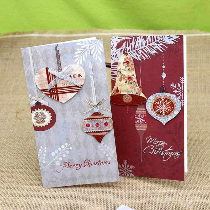 (6 pieces/set)High Quality Xmas New Year Best Wishes Thank You Card Christmas Card with Envelope Writing Paper Gift Cards