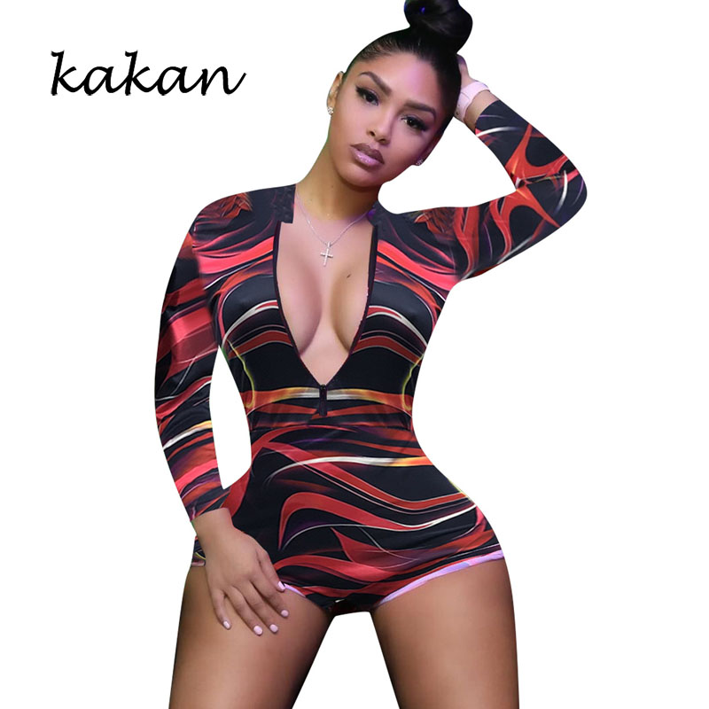 Kakan new print sexy tight jumpsuit nightclub zipper short club party no belt