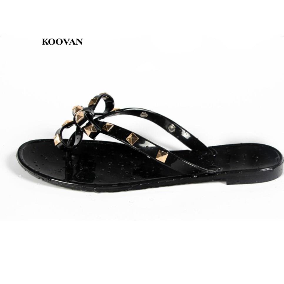 4a1e77aecb Koovan Women Slipper 2018 New Flats Beach Flip Flops Summer Rivet Bow  Women s Ladies Shoes Sandals Plastic Shoes Woman Girls-in Women s Sandals  from Shoes ...