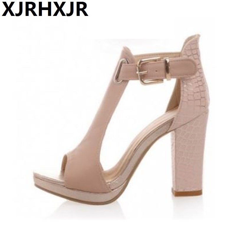 Women Sandals 34-39 Fashion Summer High Heel Lady Pumps Platform Peep Toe Woman Shoes Blue White Pink xiaying smile summer new woman sandals platform women pumps buckle strap high square heel fashion casual flock lady women shoes page 7