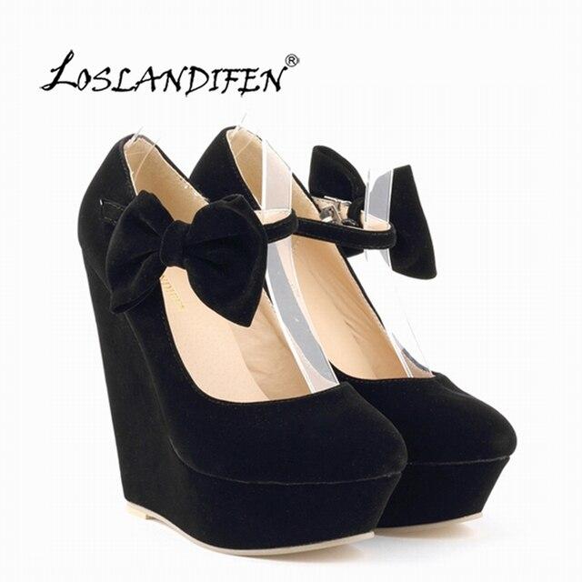 2651ec90e8f Fashion Women Velvet High Heel Shoes Platform Black Pumps Girls Sweet  Bow-knot Ankle Strap