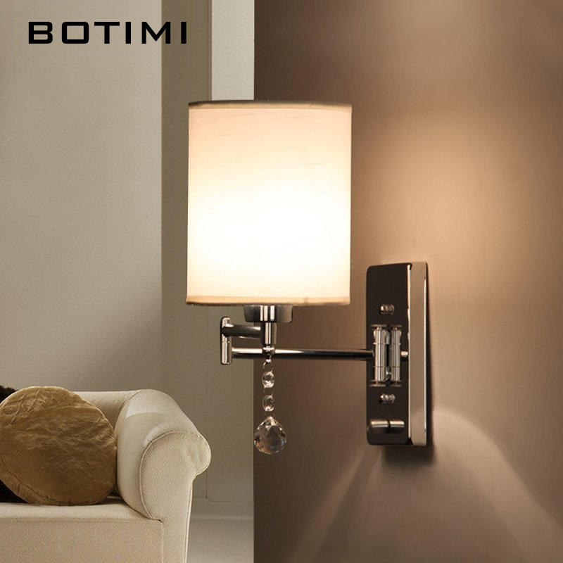 BOTIMI Crystal Fabric Lampshade Wall Sconce Modern Bedroom Light American Style Study Lighting For Living Room Simple Book Light e14 black crystal wall lamp light black silk fabric lampshade crystal wall lighting creatie crystal wall lamp study lamp