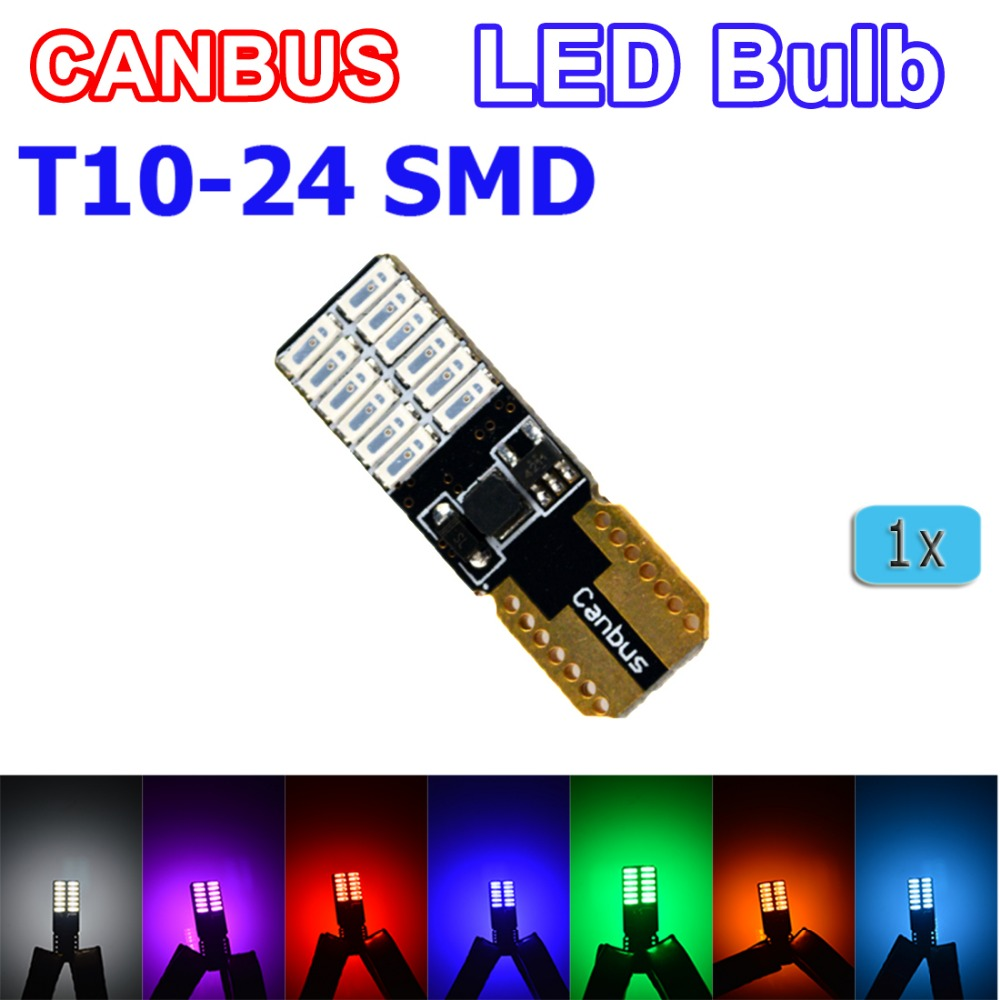 цена flytop Super bright T10 W5W 3014 SMD 24 LED Canbus Reading Light 1 Pcs White / Blue / Red / Yellow / Green/Crystal Blue/Purple