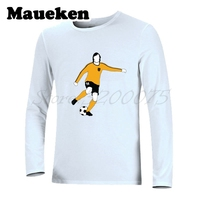 Long Sleeve Men T Shirt Johan Cruyff 14 Netherlands Holland flyer godfather Legend T Shirt Autumn Winter W17100717