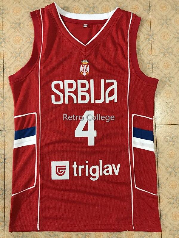 #4 Милош TEODOSIC Camiseta Canotta Сербия EUROBASKET 2017 Баскетбол Джерси Вышивка сшитые на заказ любой номер и имя