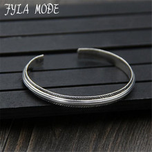 Fyla Mode Real Pure 925 Sterling Silver Bangle for Women Opening Bracelet Vintage Handmade Feather Pattern Carved Fine Jewelry