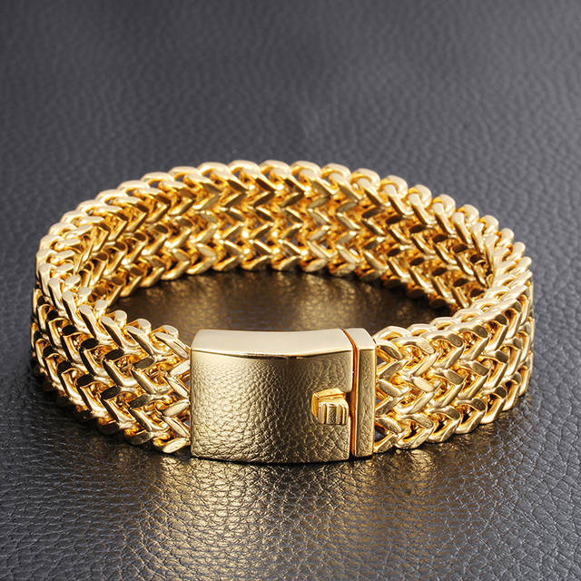 4c151f4e9c6e5 TrustyLan New Bracelet Men Jewelry Jewellery Gifts For Him Mens Bracelets &  Bangles Gold Color Stainless Steel Armband Wristband