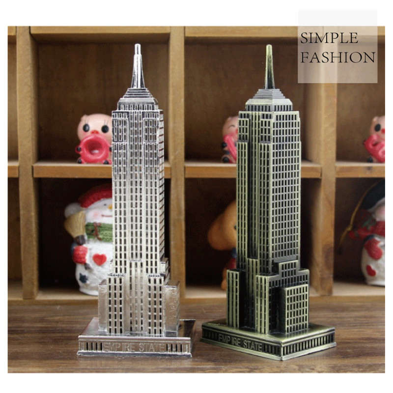 Chinese-style Metal Figurine Empire State Building American Landmark Skyscraper Model Home Creative Decoration Shooting Props ...