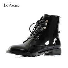 Full Grain Leather Patent Leather Ankle Boots Autumn Winter Fashion Black Red Plush Warm Woman Shoes Waterproof Lace-Up Boots