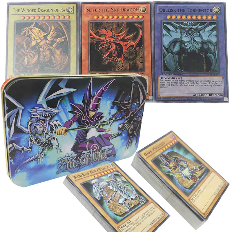 Yugioh 66pcs set Cards Egyptian God Collectible Toys for Boy Yu Gi Oh Legendary Board Game Collection Cards with Metal BoxYugioh 66pcs set Cards Egyptian God Collectible Toys for Boy Yu Gi Oh Legendary Board Game Collection Cards with Metal Box