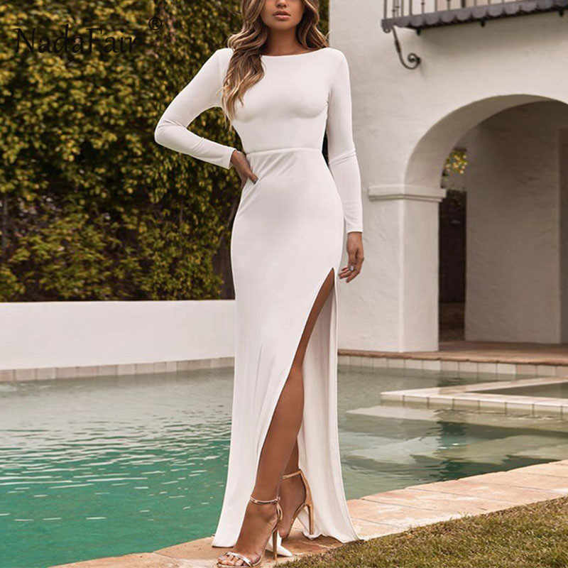 Nadafair/Клубные вечерние платья с длинными рукавами, Элегантное Длинное облегающее платье с разрезом, белое, черное, с открытой спиной, осенне-зимние сексуальные платья для женщин