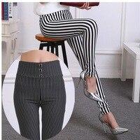 Summer new black and white striped ladies External wear Leggings AGC