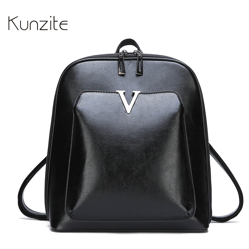 KUNZITE Women s Leather Backpack Fashion Retro Style Daily Backpack For Ladies And Girls Casual Large