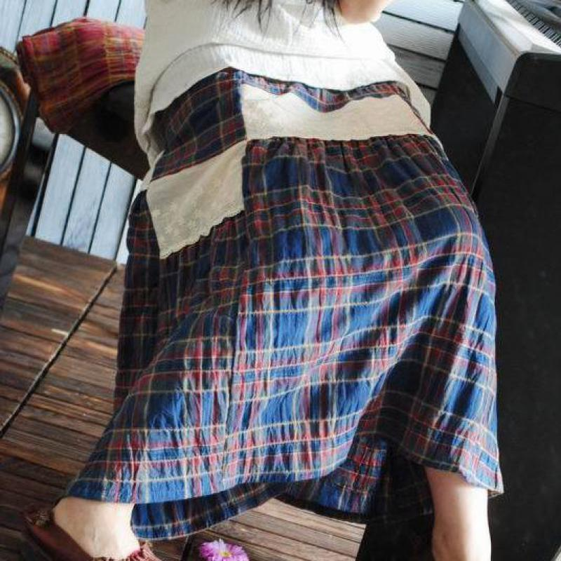 2017 New Loose Stitching Elastic Belt Skirts Womens Casual Natural Plaid Literary Style Original Cotton Linen Long Skirts