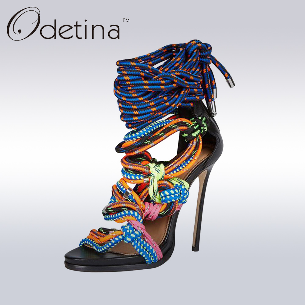 Odetina 2017 New Designer Multicolor Ropes Women Gladiator Sandals Woman Stiletto Extreme High Heels Lace Up Pumps Back Zipper denim zipper hollow worn stiletto womens sandals