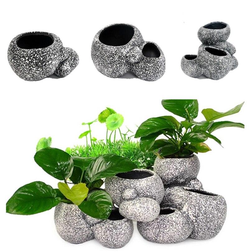 New Creative Aquarium Decoration Plant Bonsai Stone Pot Fish Tank Stone Decoration Cave for Fish Breeder Bonsai Shelter Filter