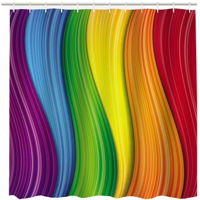 Rainbow Stripe Neon Light Geometry Shower Curtains Custom Design Creative Curtain Bathroom Waterproof Polyester Fabric