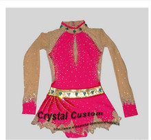Crystal Custom Child Gymnastics Competition Dress Beautiful New Brand Vogue Figure Skating Dresses For Competition G2817
