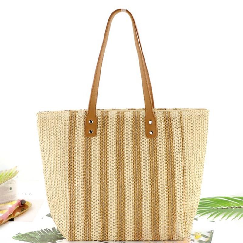 Casual Style women bag Striped Straw Woven Shoulder Bag Fashion Beautiful Large Capacity Women