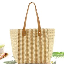 Casual Style women bag Striped Straw Woven Shoulder Bag Fashion Beautiful Large Capacity Women