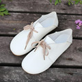 Hot Sale New Women Pu Leather Casual Shoes Loafers Soft Slip On Flats Female Shoelaces Spring Summer Footwear Size 36-40 White