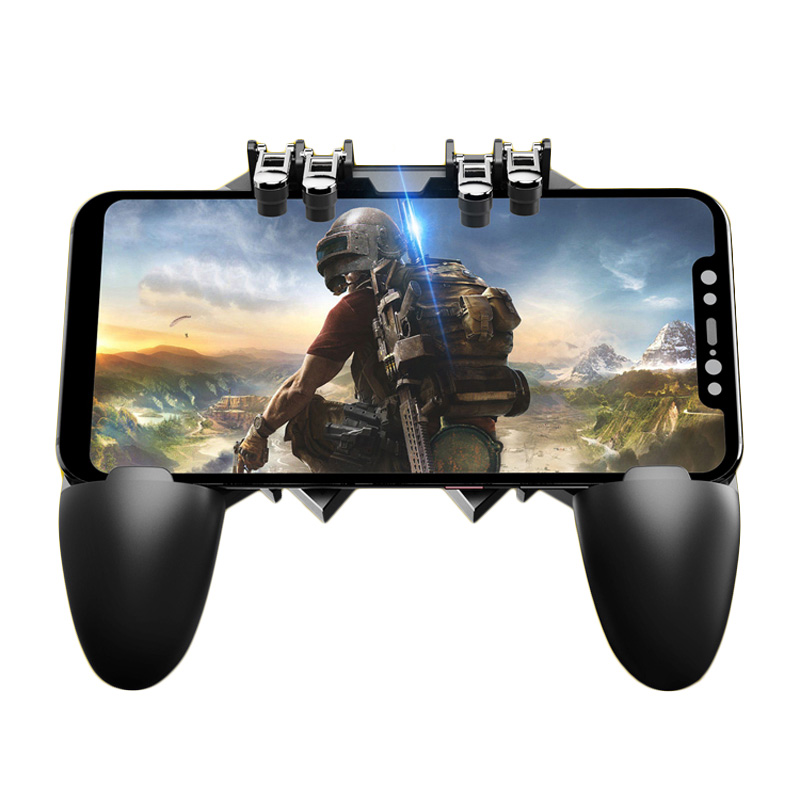 ShirLin Smartphone Control Gamepad Shooter Joystick Gamer Trigger Six Finger Joystick Gamer Controller with Heat Sink for Phone