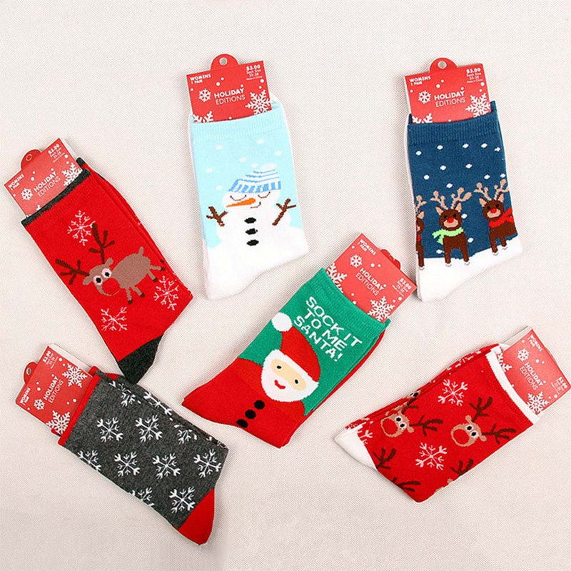 New Christmas Santa Claus Snowman Women's Winter Socks ...