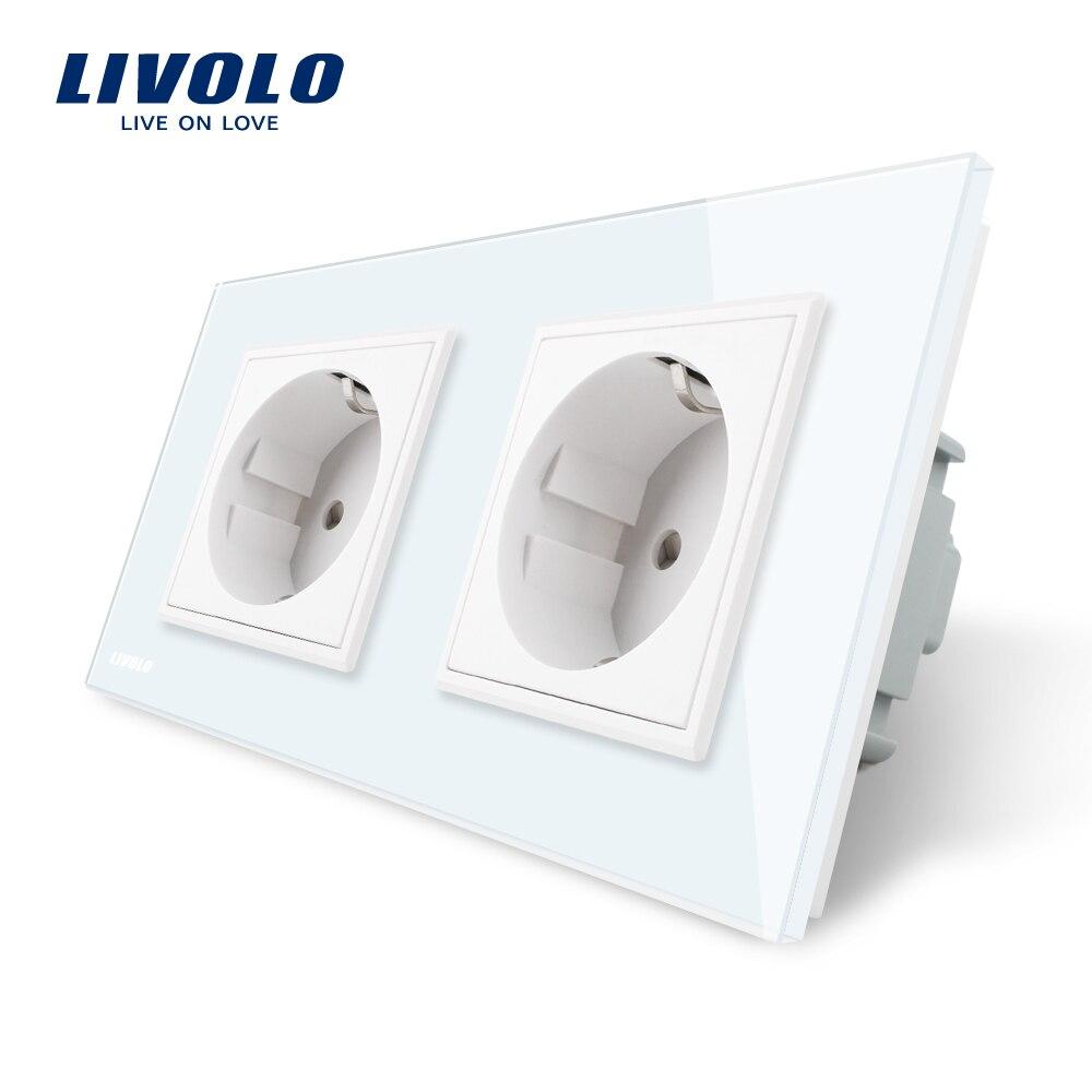 Enchufe de pared estándar Livolo EU, Panel de cristal de 4 colores, fabricante de toma de corriente de pared 16A, C7C2EU-11/12/13/15
