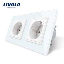 Livolo ЕС Стандартный стены Мощность разъем, белый кристалл Стекло Панель, производитель 16A розетки, VL-C7C2EU-11