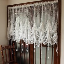 European Rustic Vintage Floral Window Curtain White Adjustable Balloon Curtain