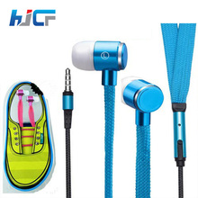 Universal 3.5mm Jack Shoelace Metal Earphones With Mic Stereo Headphone Ecouteur Auriculares Deportivos Fone De Ouvido