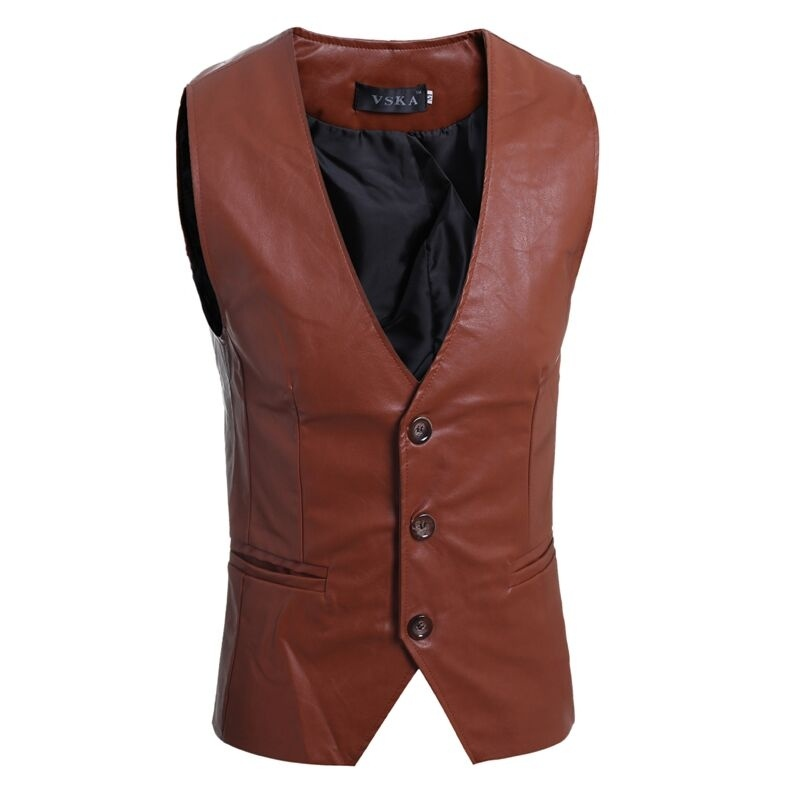 Zogaa Men's Slim Vest Sleeveless Jacket Casual Pu Leather Vests Button Open V Neck Geek Simple Joker Slim Fit Vest Men
