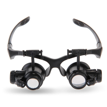 LED Eye Loupe Magnifier Kaca Pembesar Pembesar 10x 15x 20x 25x Untuk Jeweler Watchmaker Hitam New Fashion