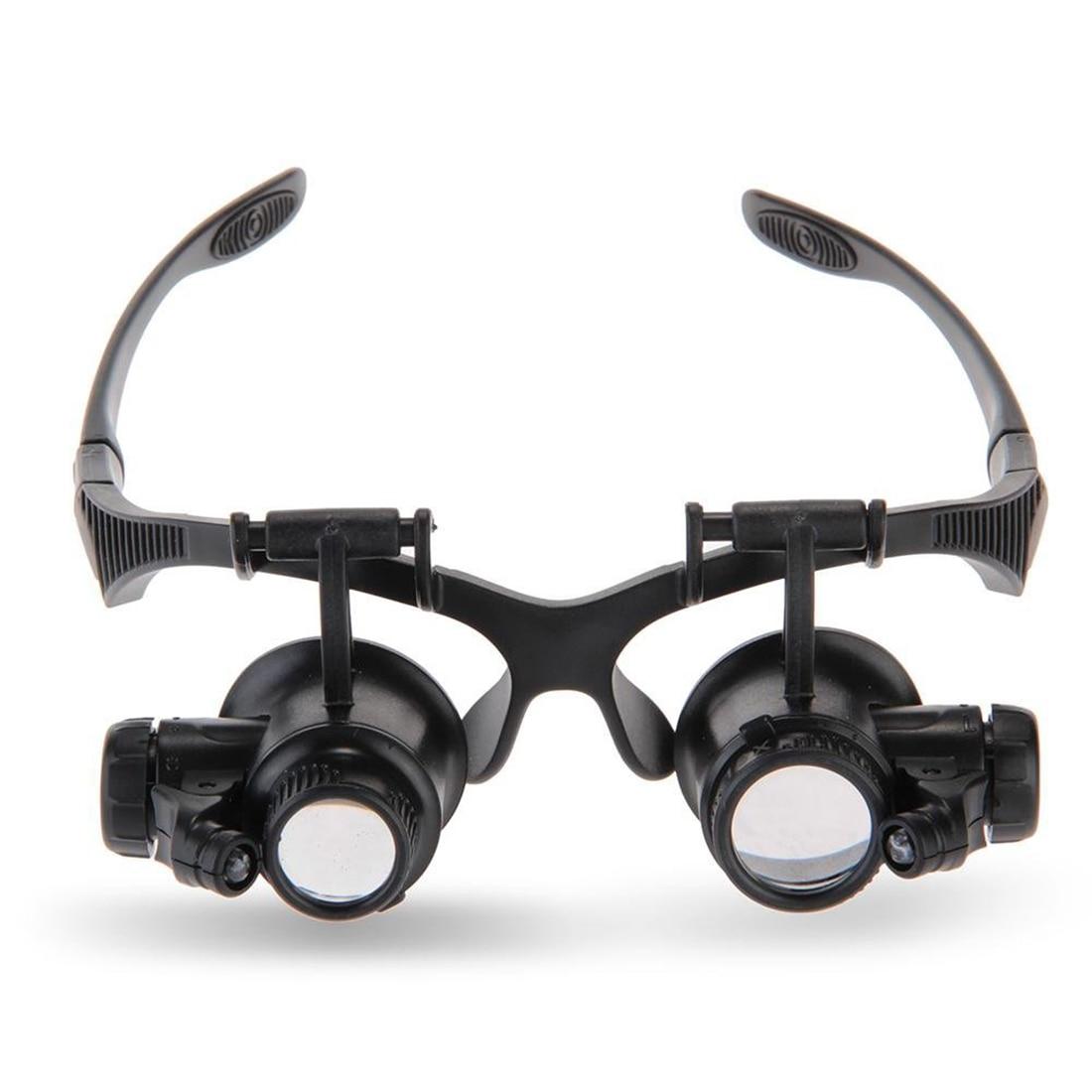 Magnifying Glasses 10X 15X 20X 25X Eye Jewelry Watch Repair Magnifier Glasses With 2 LED Lights Microscope окуляр для зрительных труб nikon prostaff 5 20x 25x