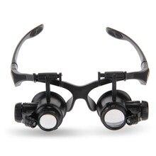 Vergrootglazen 10X 15X 20X 25X Eye Sieraden Horloge Reparatie Vergrootglas Bril Met 2 Led-verlichting Microscoop