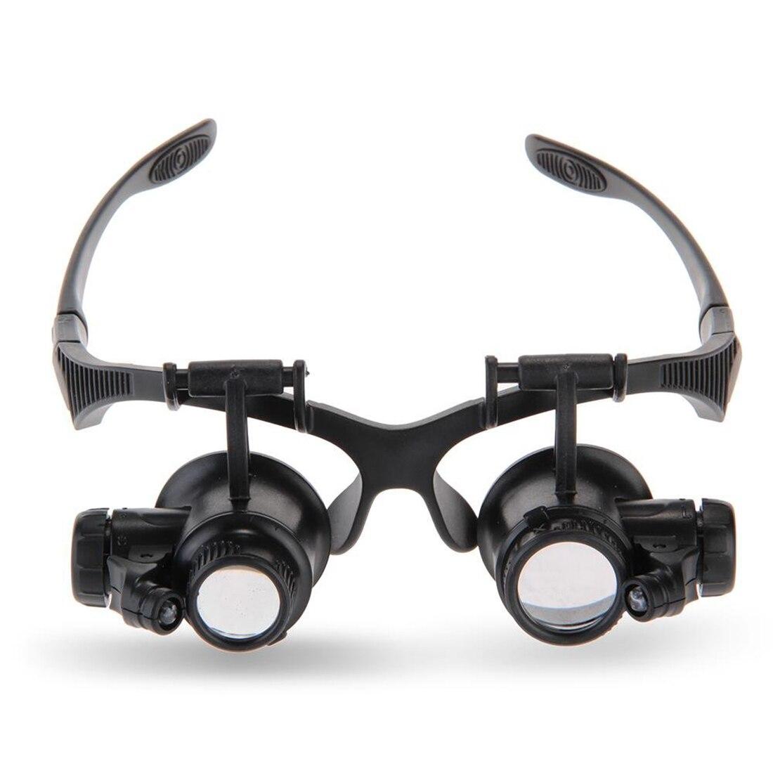 Occhiali Lente di Ingrandimento 10X 15X 20X 25X LED Luci Vigilanza Del Gioielliere riparazione Lente Occhiali Da Vista Ottico Magnifier della lente di Ingrandimento Strumenti Con 2 LED
