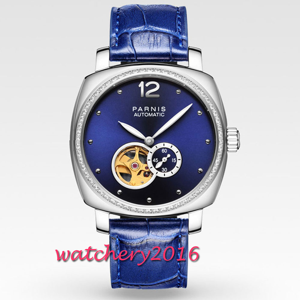 лучшая цена 39mm Parnis Blue Dial Stainless steel Case Leather strap ladie Sapphire Glass Luxury Brand Miyota Automatic Movement men's Watch