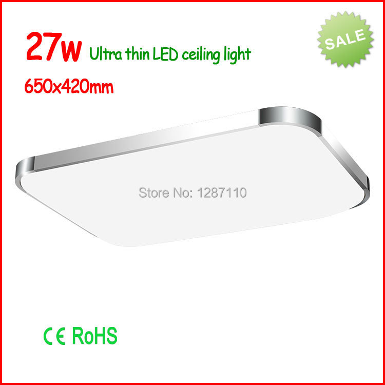 Ultra-thin modern led ceiling light 27w square led ceiling lamps for living room/bedroom 65cmx43cm free ship ultra thin 7 touch screen lcd wince 6 0 gps navigator w fm internal 4gb america map light blue