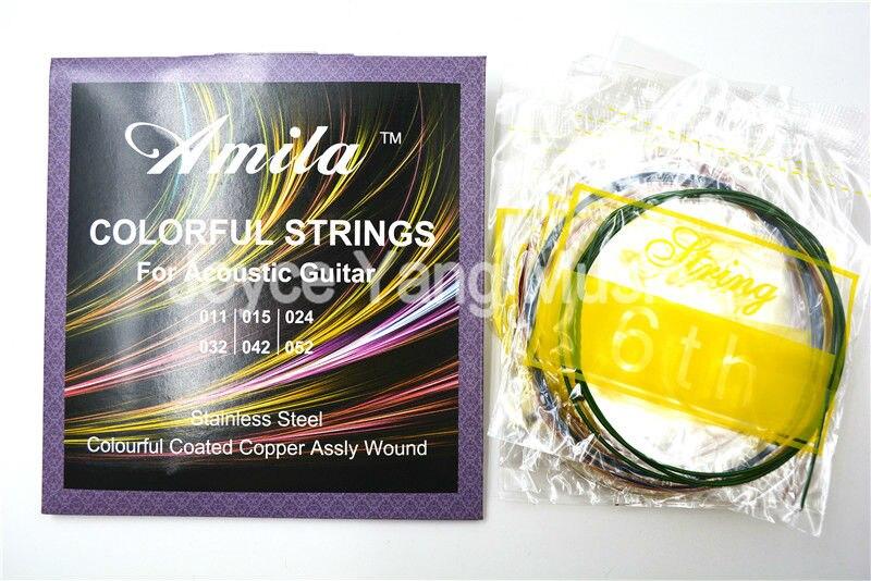 3 Stringhe Colorate Corde della Chitarra Acustica Set Amila Colourful  Coated Lega di Rame Wound prima al sesto Strings 011-052 Spedizione Gratuita 432a2b494eea