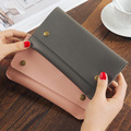 Korean Version Of The New Lady Thin Wallet Leather Color Long Vertical Section Of Ms Magnetic Buckle Long Wallet Card Package