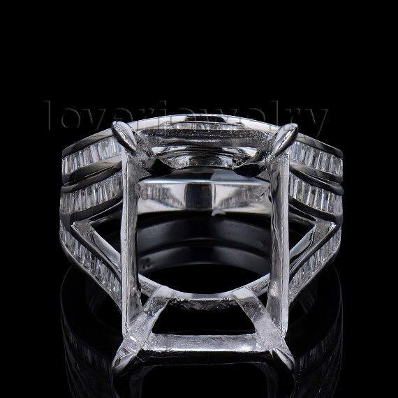 Новое поступление Изумрудный Cut 10x14 мм 14kt белое золото Diamond Маунт Semi обручальное кольцо wu239