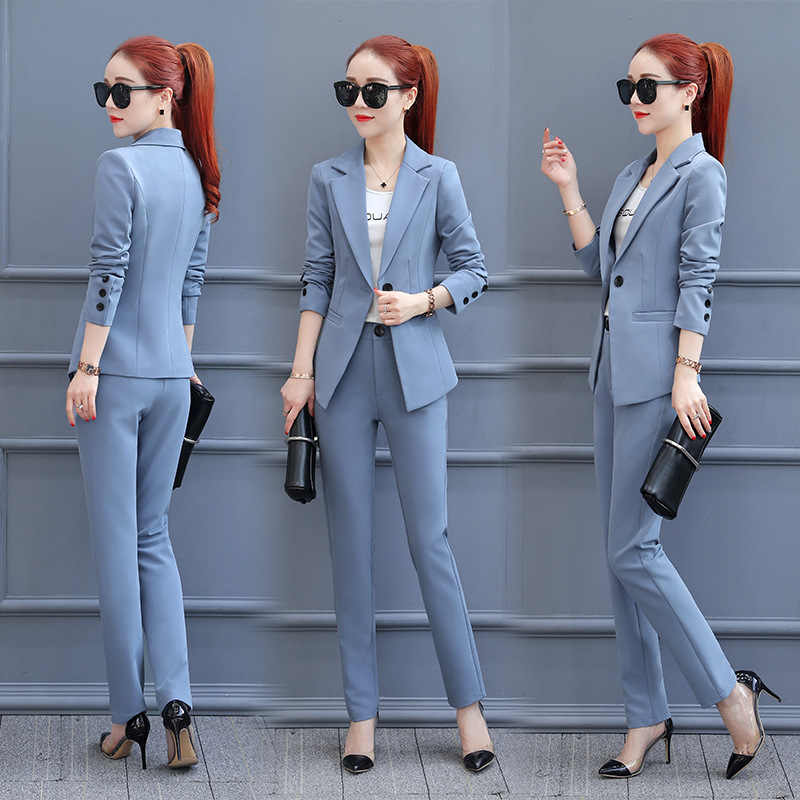 Female Two Piece Pant Suits Formal Ladies Office OL Uniform Designs Women elegant Business Work Wear Jacket with Trousers Sets