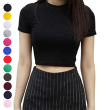 Women Summer T-shirts Short Sleeves Round Neck Slim Fit Casual Pullover Crop Tops