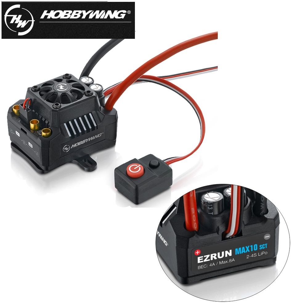 1pcs 100% Hobbywing EZRUN Max10 120A ESC Waterproof Brushless ESC 1/10 SCT RC Hobby Truck MAX10-SCT 120A