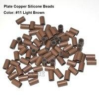 1000 parça 4.0*3.0*4.0 MM Plaka kenar bakır silikon tüpler boncuk dreadlock boncuk saç boncuk silikon boncuk saç uzantıları için
