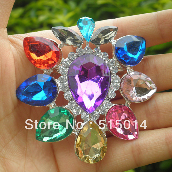 Free Shipping ! Acrylic Colorful Rhinestone Brooch With Pin .Price Negotiable for Large Order